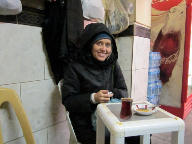 Heidi, when we were having tea in a bazaar tea shop just after we first got here in January.  Typically, we were not allowed to pay.