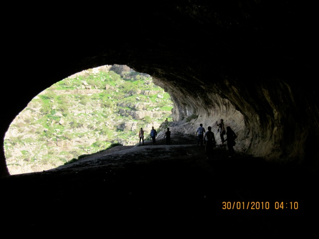 View from deep inside the cave of the opening.  You can really see how the Peshmerga would have had the advantage.