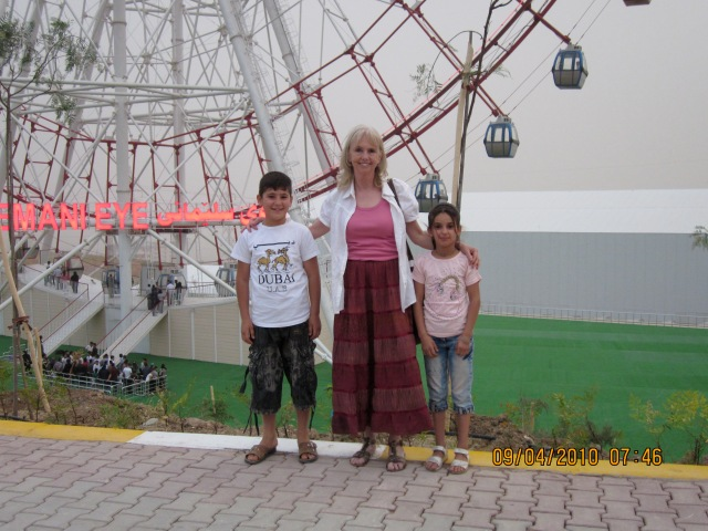 Me with two passing children